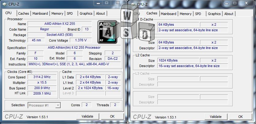 AMD Athlon 2 X2 255 CPU-Z