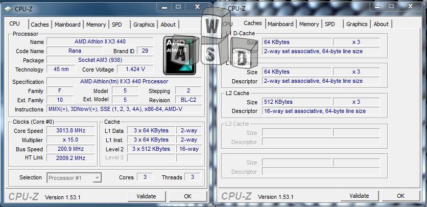 AMD Athlon 2 X3 440 CPU-Z