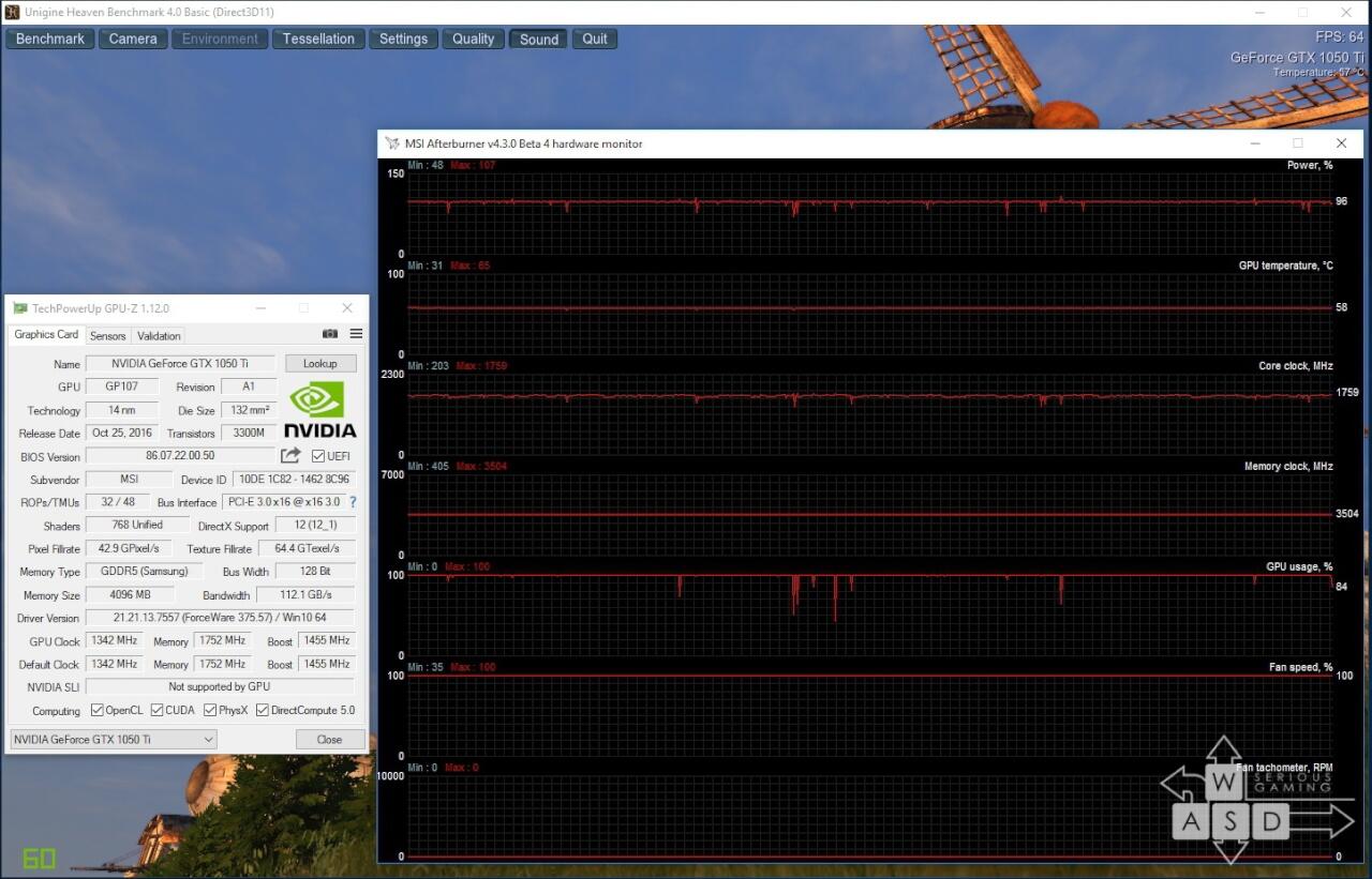 Nvidia GeForce GTX 1050 Ti load 100 default