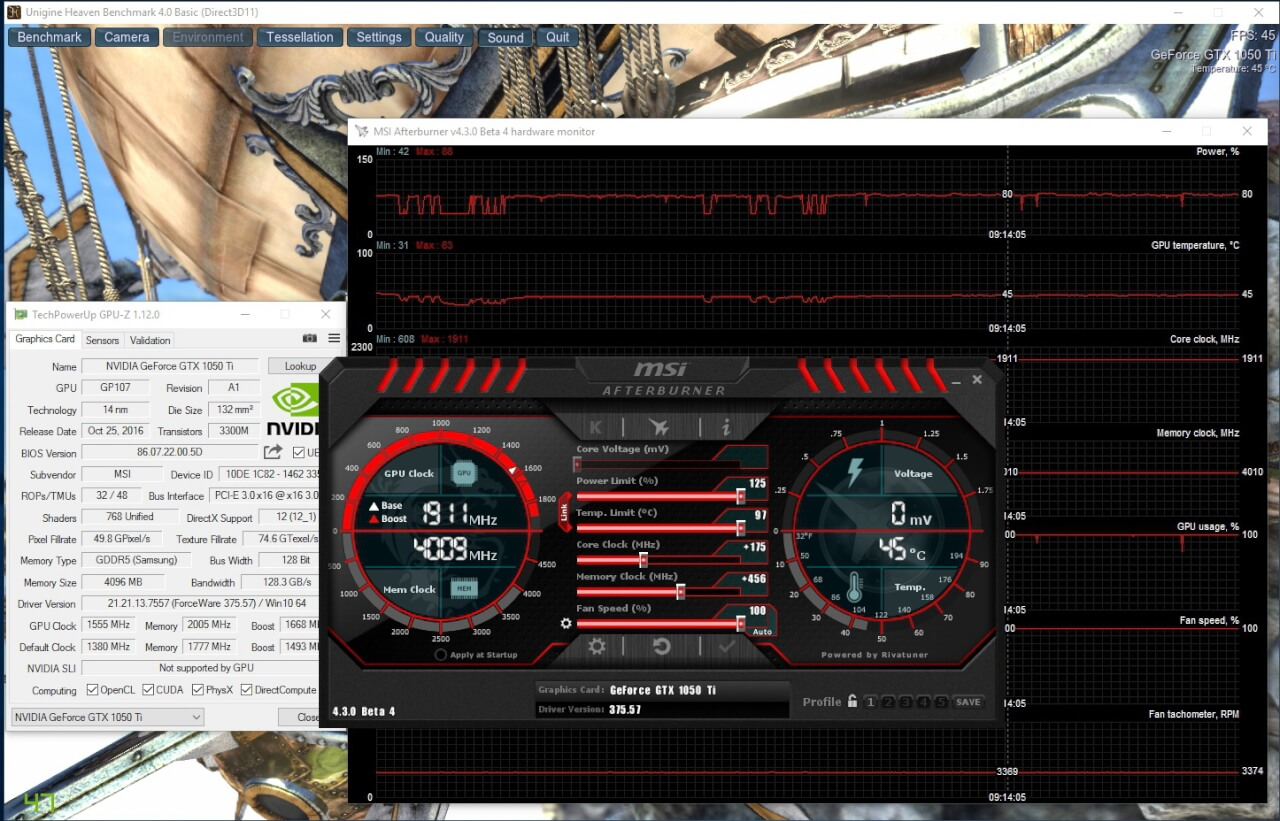 MSI GeForce GTX 1050 Ti Gaming X overclocking