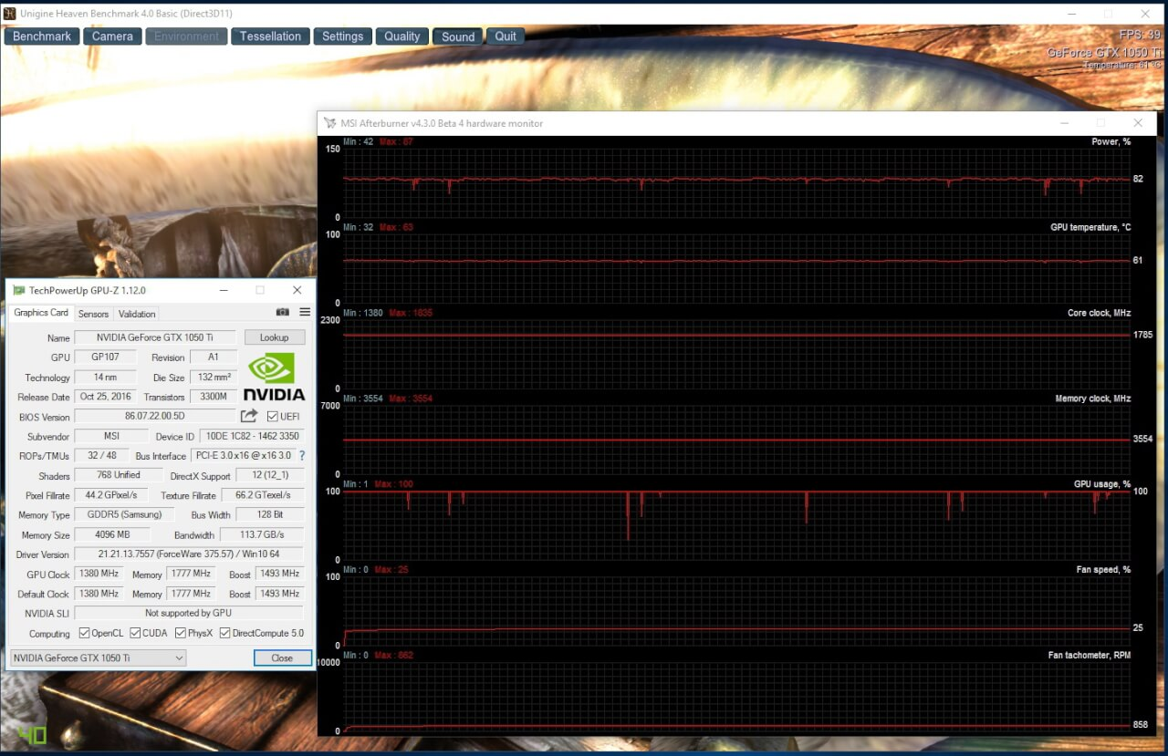 MSI GeForce GTX 1050 Ti Gaming X load temperature