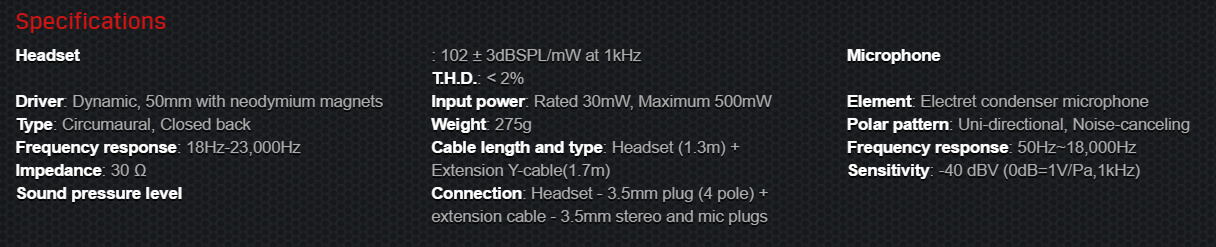 HyperX Cloud Stinger specs