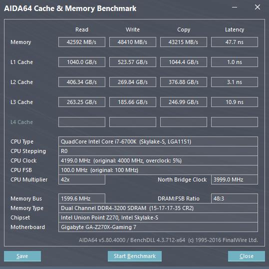 AIDA64 Intel Core i7 6700K