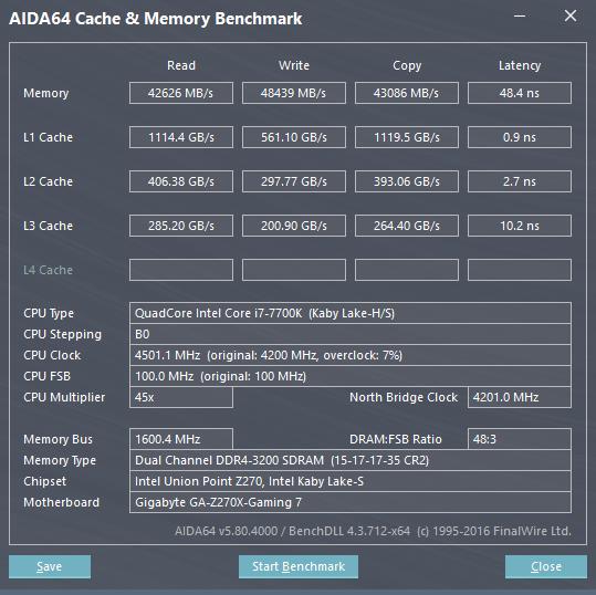 AIDA64 Intel Core i7 7700K