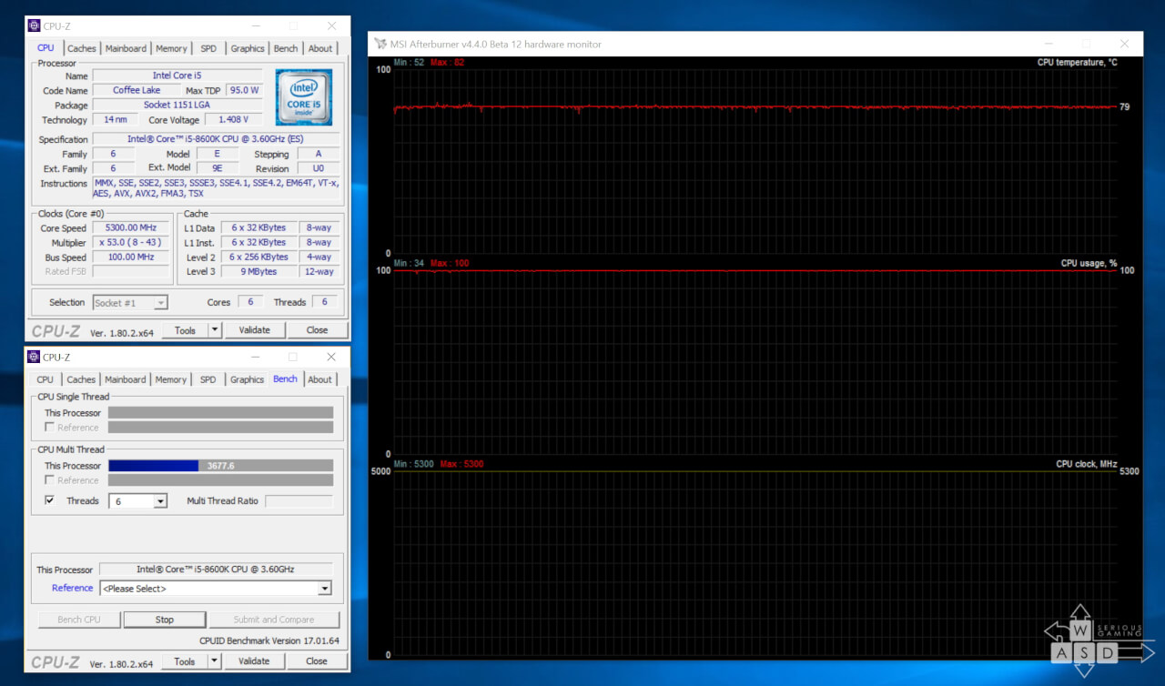 Intel Core i5 8600K @ 5,3 GHz - temperatura