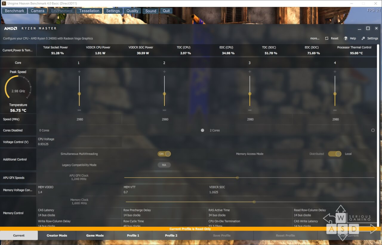 AMD Ryzen 5 2400G GPU Load temperature