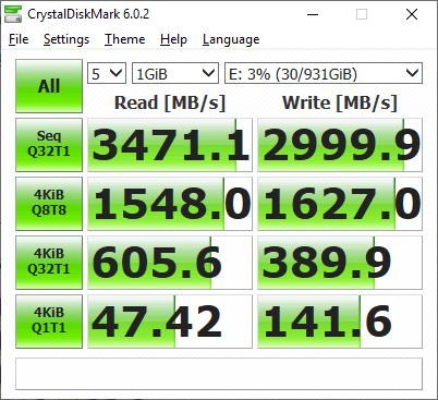 SSD M.2 NVME Seagate FireCuda 510 1TB - CrystalDiskMark