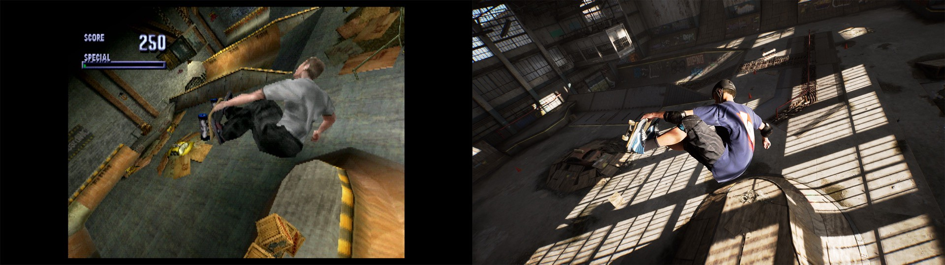 Tony Hawk's Pro Skater 1 and 2 Original vs Remastered
