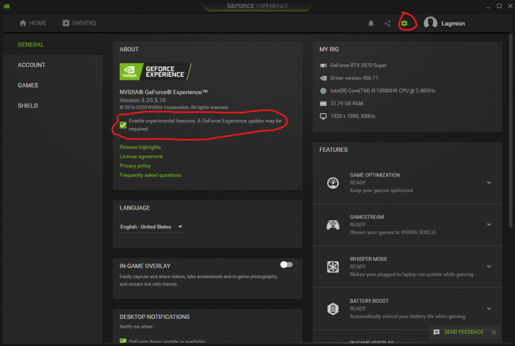 GeForce Experminental Features