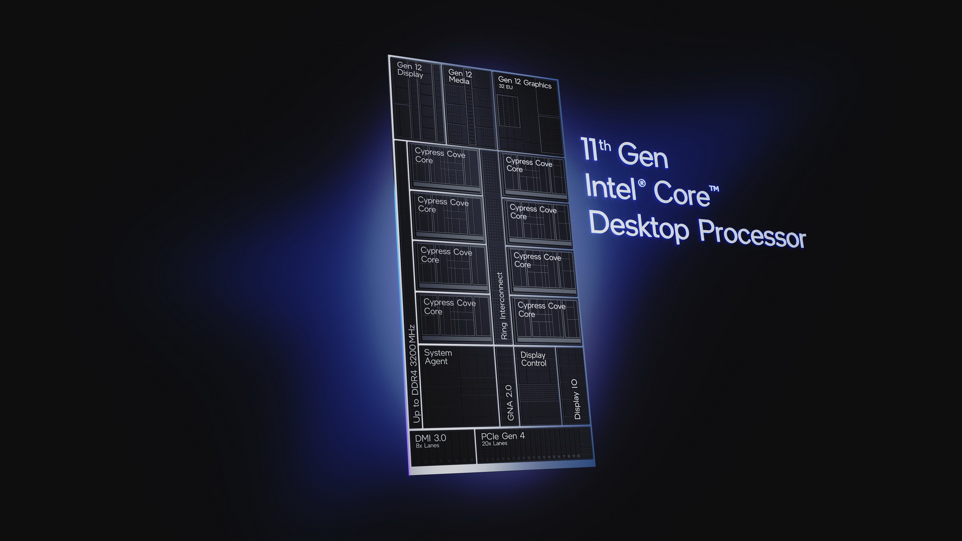 11th Gen Intel Core desktop processors engineered on the new Cypress Cove architecture are designed to transform hardware and software efficiency and increase raw gaming performance. They were introduced on March 16, 2021. (Credit: Intel Corporation)